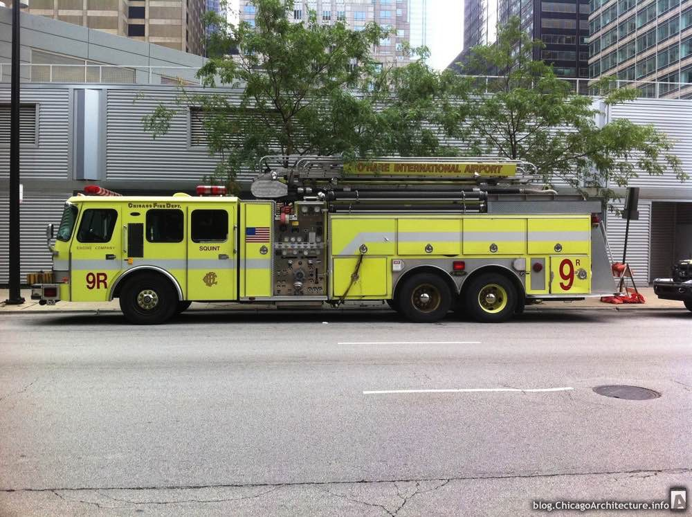 An O'Hare Airport fire truck in the West Loop