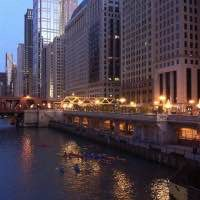 Kayaks at night on the Chicago River