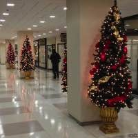 Christmas trees in the Aon Center pedway