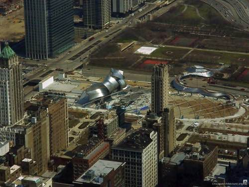 Millennium Park under construction.