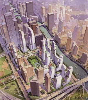 Original SOM layout for Lakeshore East showing a huge tower straddling North Field Bolevard