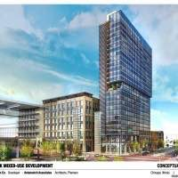 Drawing of the new McHugh hotel, retail, and data center complex, courtesy of McHugh Construction