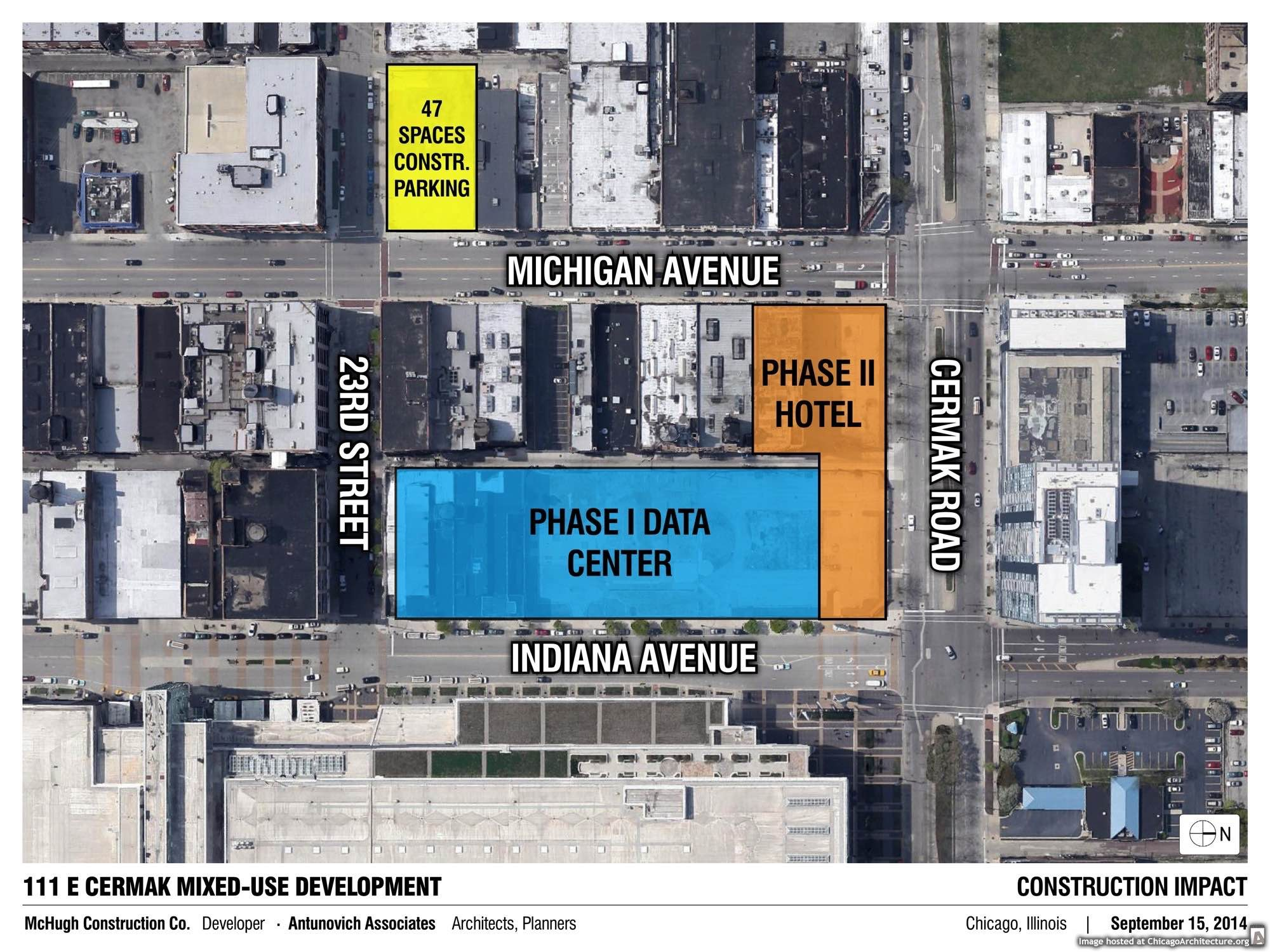 Diagram of the new McHugh hotel, retail, and data center complex, courtesy of McHugh Construction