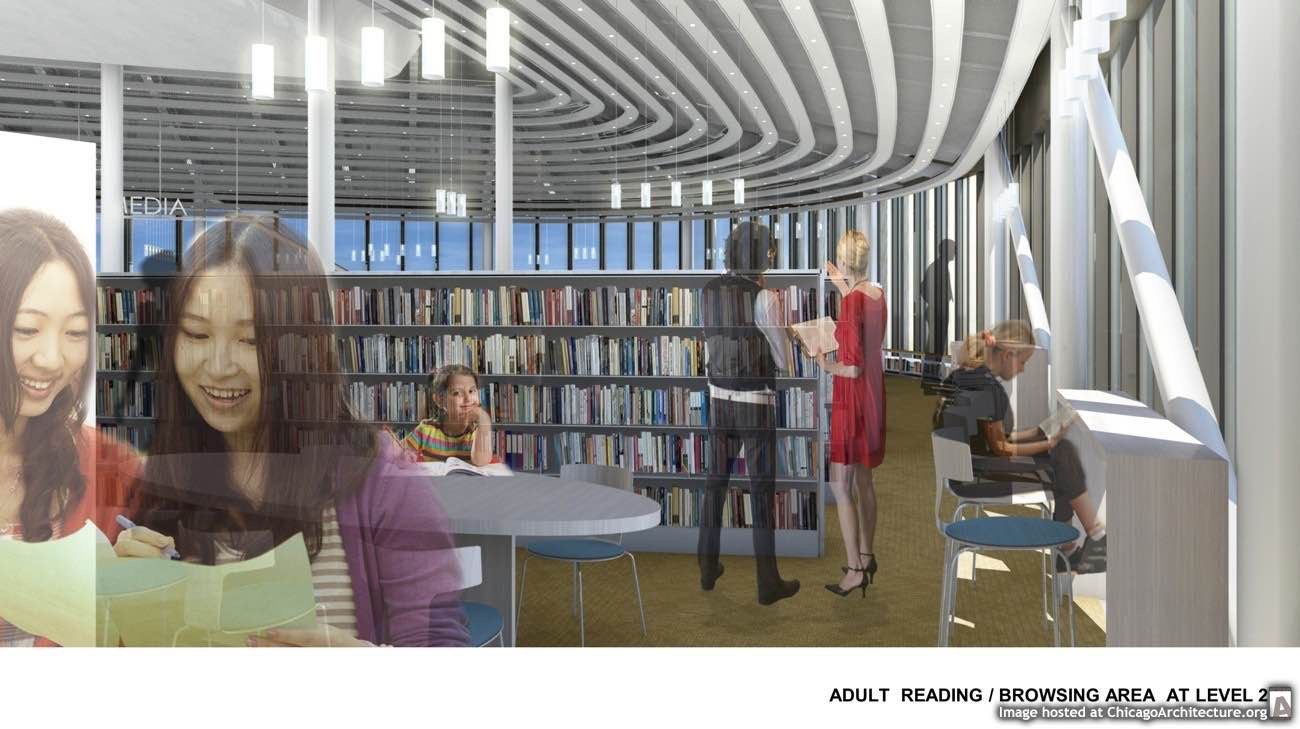 Chinatown Branch Library drawing courtesy of the Public Building Commission of Chicago