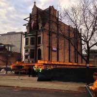 Rees House being moved