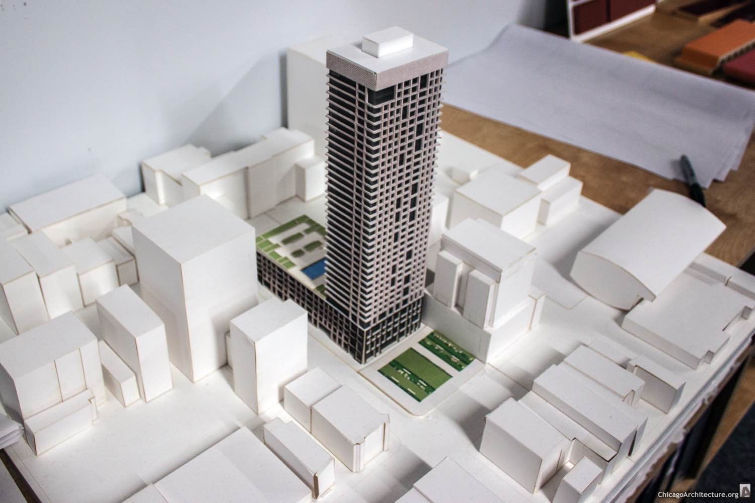 Model of 720 North LaSalle, which will replace the Howard Johnson's motel