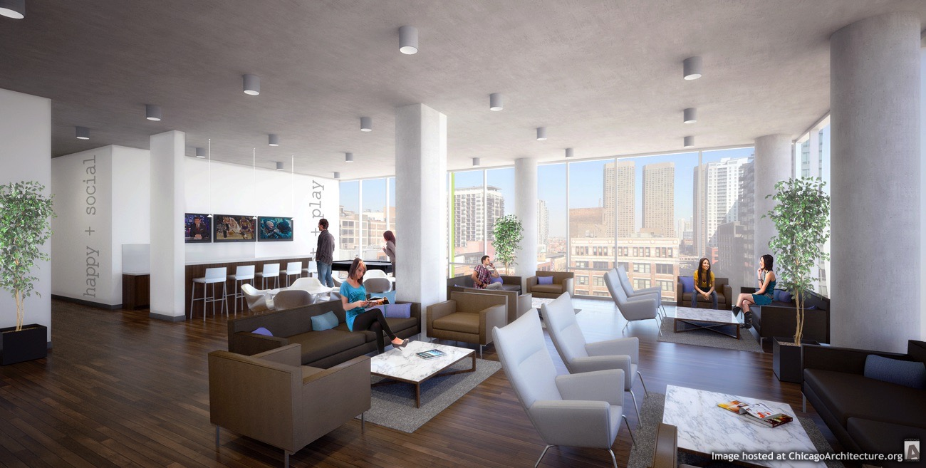 JeffJack Apartments Social Room rendering Chicago Architecture