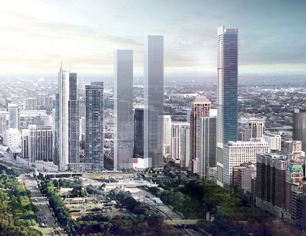 Rendering of 1000 South Michigan (right) via Crain's Chicago Business