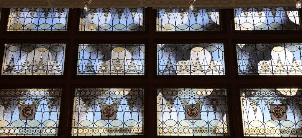 A stained-glass window in the ballroom of the renovated Chicago Athletic Association Hotel.