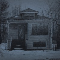 "What was Once a Home (West 70th Place), 8"" x 10"", Carbon pencil on toned paper, 2014 (Courtesy of Jennifer Cronin)"