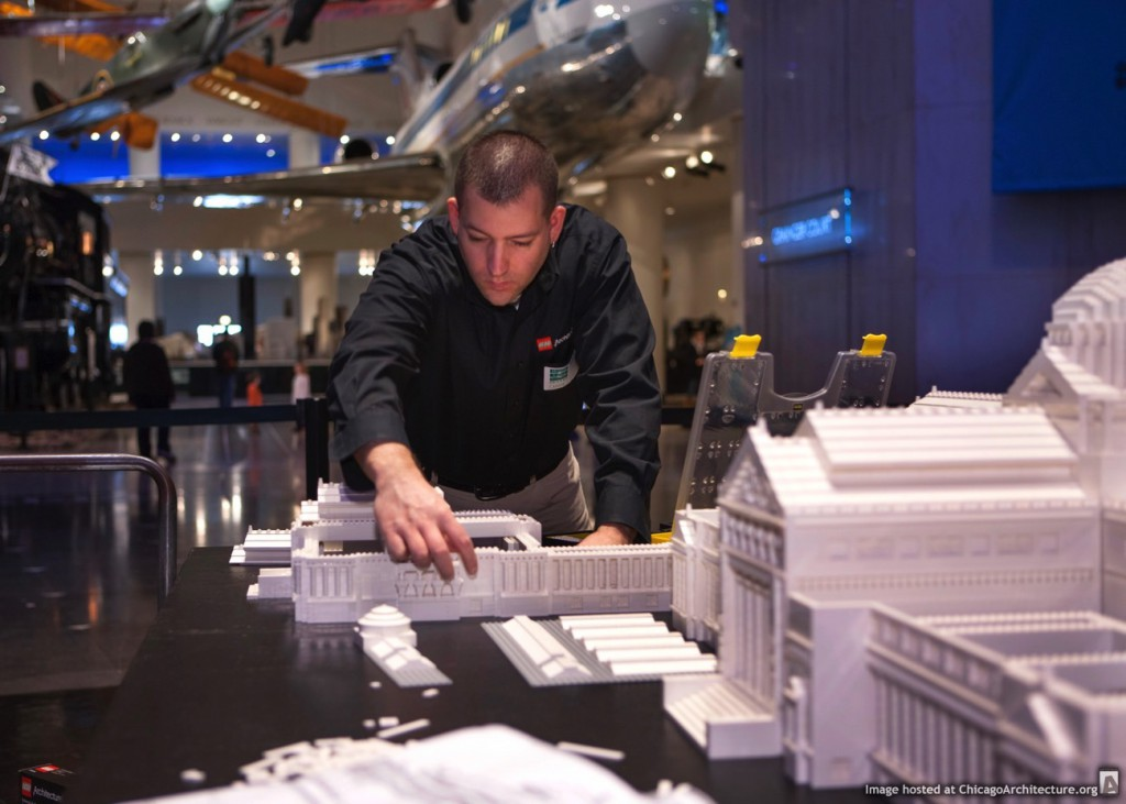 Adam Reed Tucker builds a LEGO® model of the Museum of Science and Industry. (J.B. Spector/Museum of Science and Industry, Chicago)