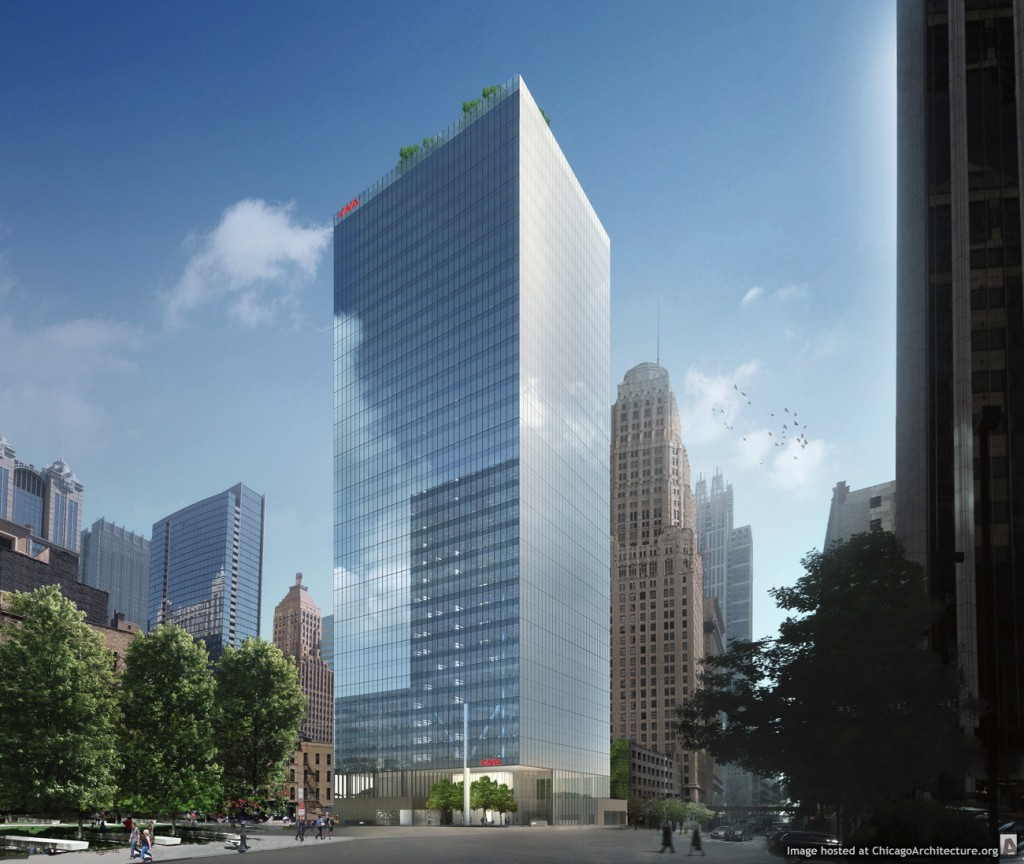 Rendering of the new CNA Center at 151 North Franklin (Courtesy of the John Buck Company)