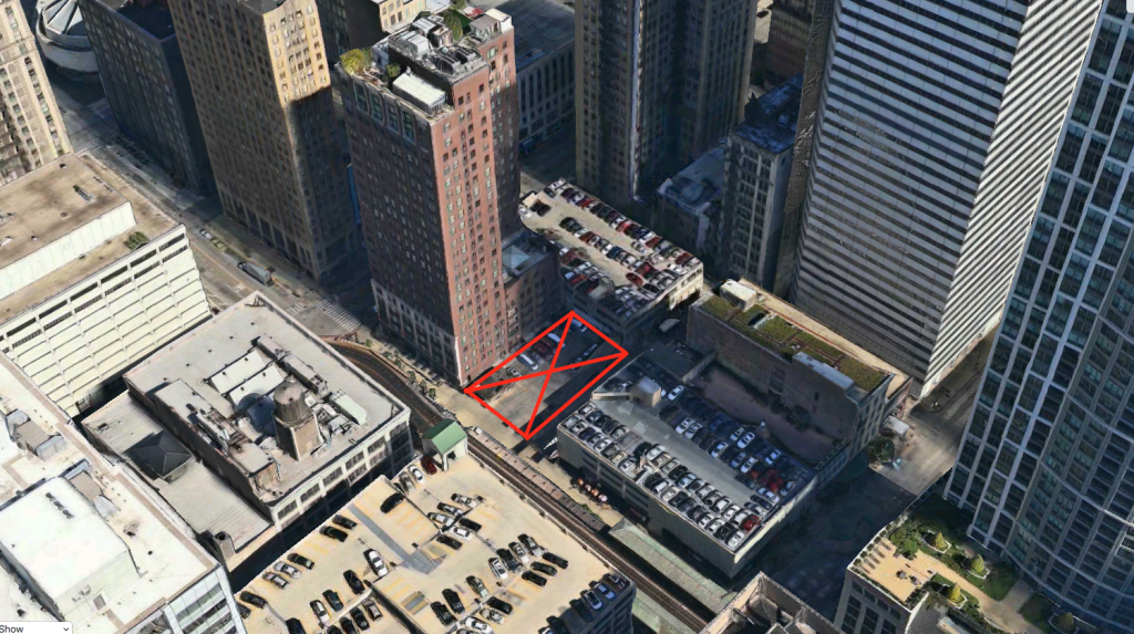 X Marks The Spot Where 171 North Wabash Will Be Built Parking Garage Behind