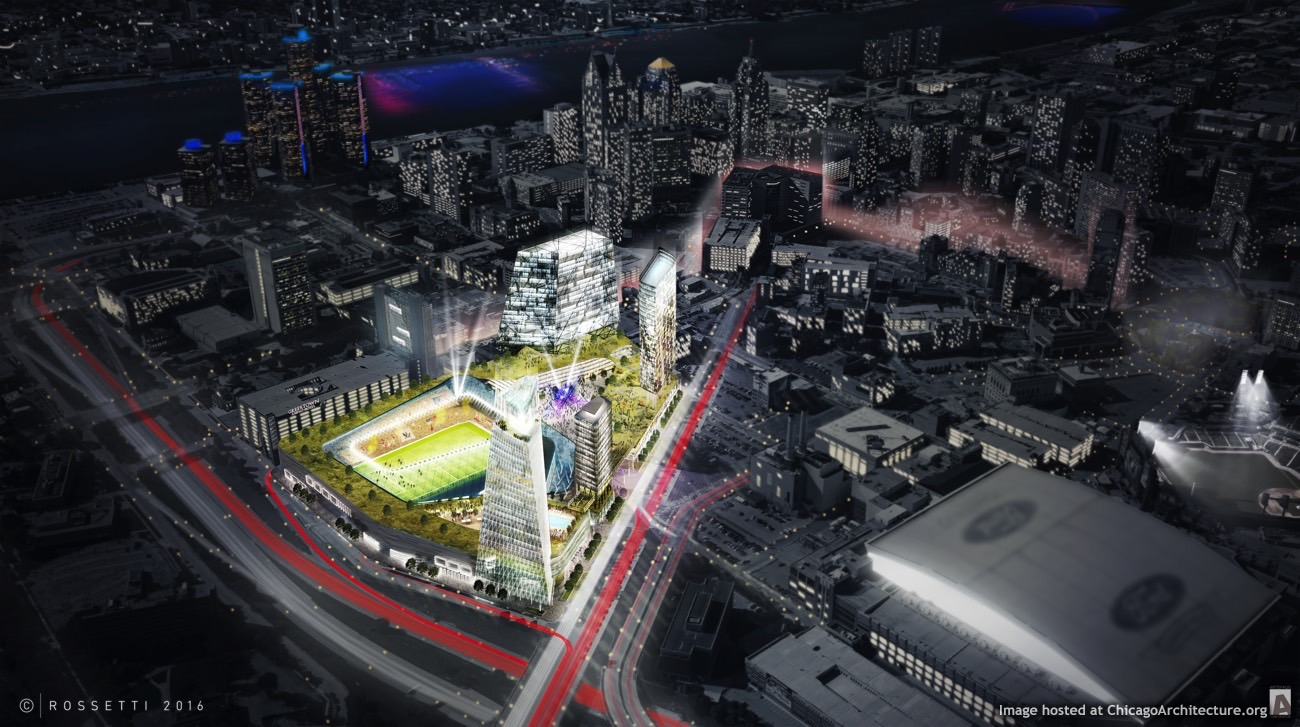 Detroit MLS Stadium District proposal (Courtesy of Rossetti Architects)