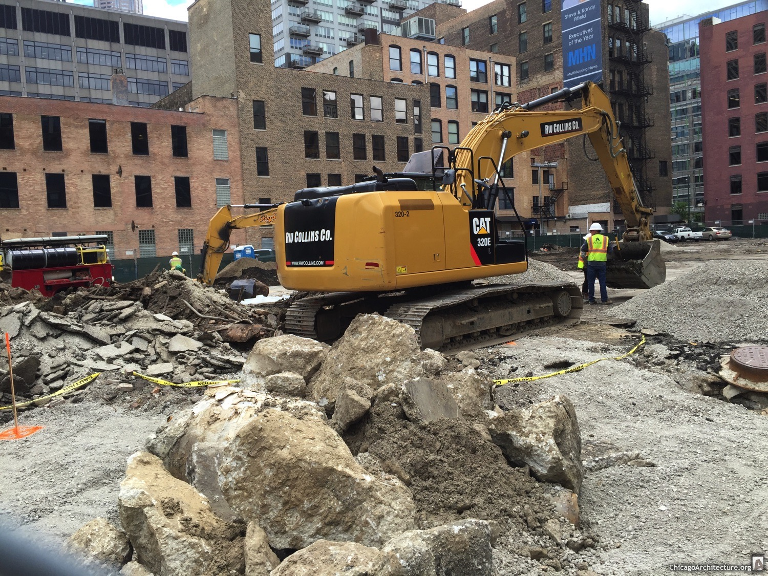 Excavators excavating at 625 West Adams Street (Courtesy of West Loop Spy Joel)