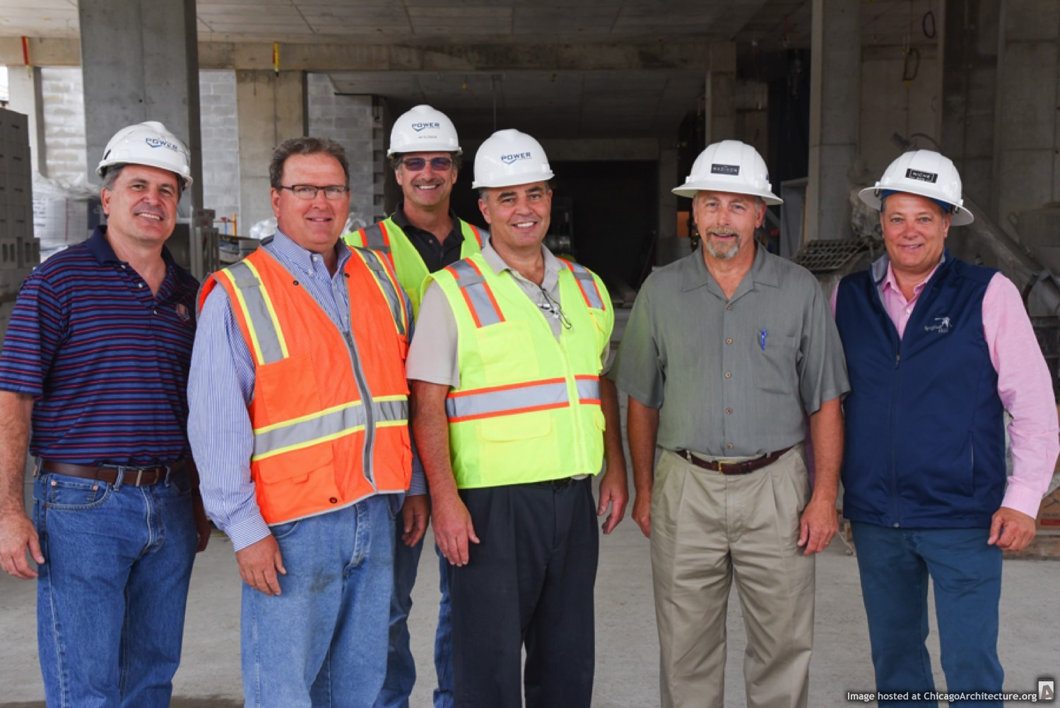 Left to right: Robert Van Deven, vice president, Power Construction Company; William J. Wolk, president, Ascend Real Estate Group; Jim Glosson, superintendent, Power Construction Company; Patrick O'Connor, construction manager, Intercontinental Development Inc.; Walter A. Rebenson, CEO, Ascend Real Estate Group; and Joseph Salamone, principal, Ascend Real Estate Group (Courtesy of Ascend Real Estate Group)