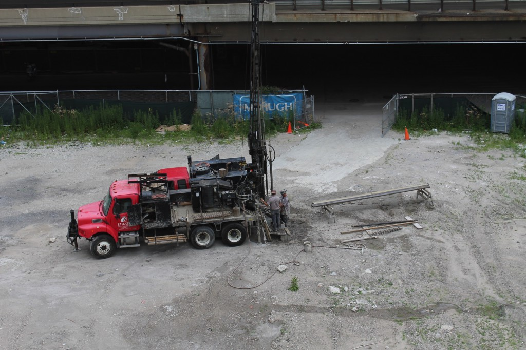 Soil sampling for the future Wanda Vista Tower (Courtesy of Building Up Chicago)