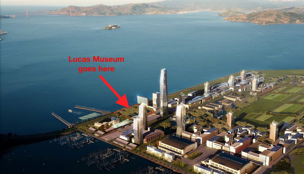 The new location for the Lucas Museum of Narrative Art (Original image courtesy of SOM)