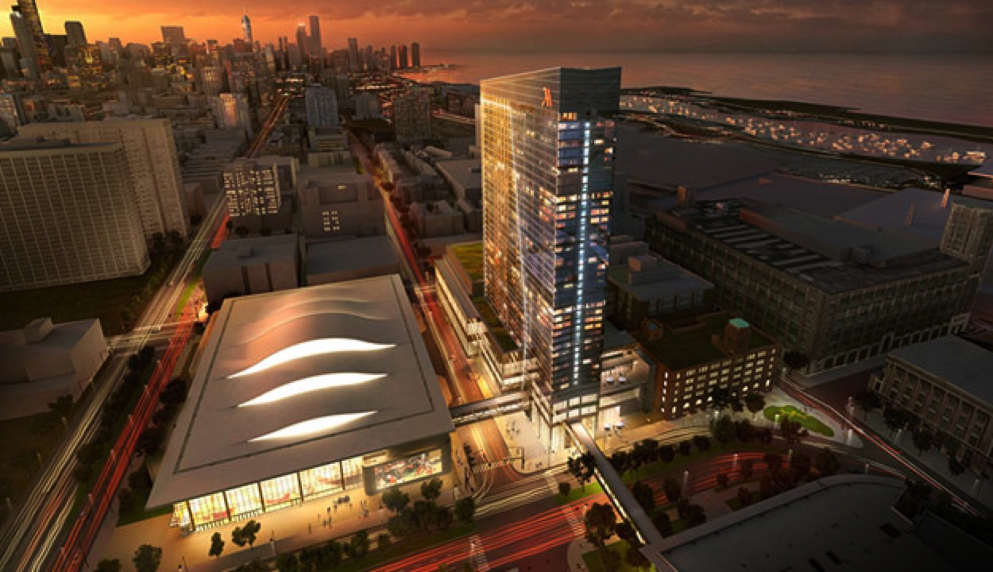 Rendering of the Marriott Marquis Chicago