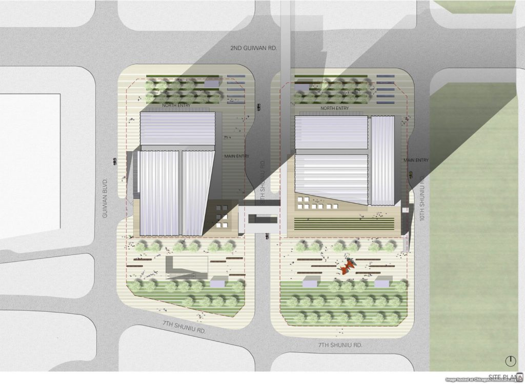 Drawing of the COFCO Qianhai Asia Pacific Headquarters (Courtesy of Goettsch Partners)