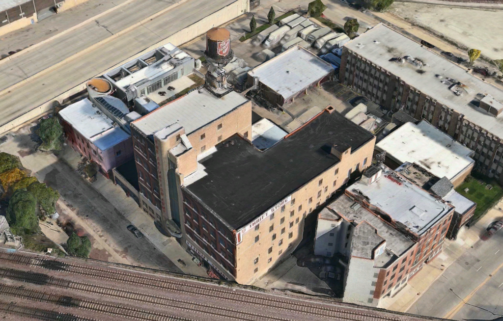 The Salvation Army building and its water tank at 509 North Union Avenue (via Apple Maps)