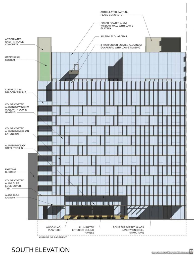 Diagram of the Dana Hotel's Erie Street expansion