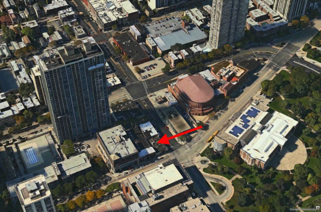 Future location of the 1550 North Clark high-rise (via Apple Maps)