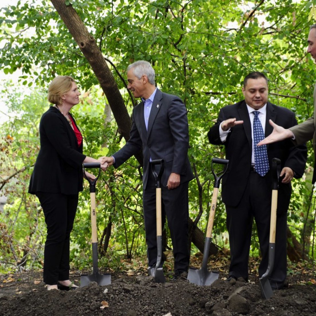 Mayor Rahm Emanuel at the 312 RiverRun groundbreaking (via Office of the Mayor of Chicago)