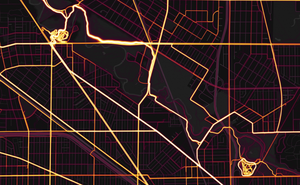 Strava heat map of Caldwell/Smith Woods and LaBagh Woods