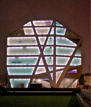 Berlin's HumboldtBox at night (Courtesy of Artefaqs Architectural Stock Photograph)