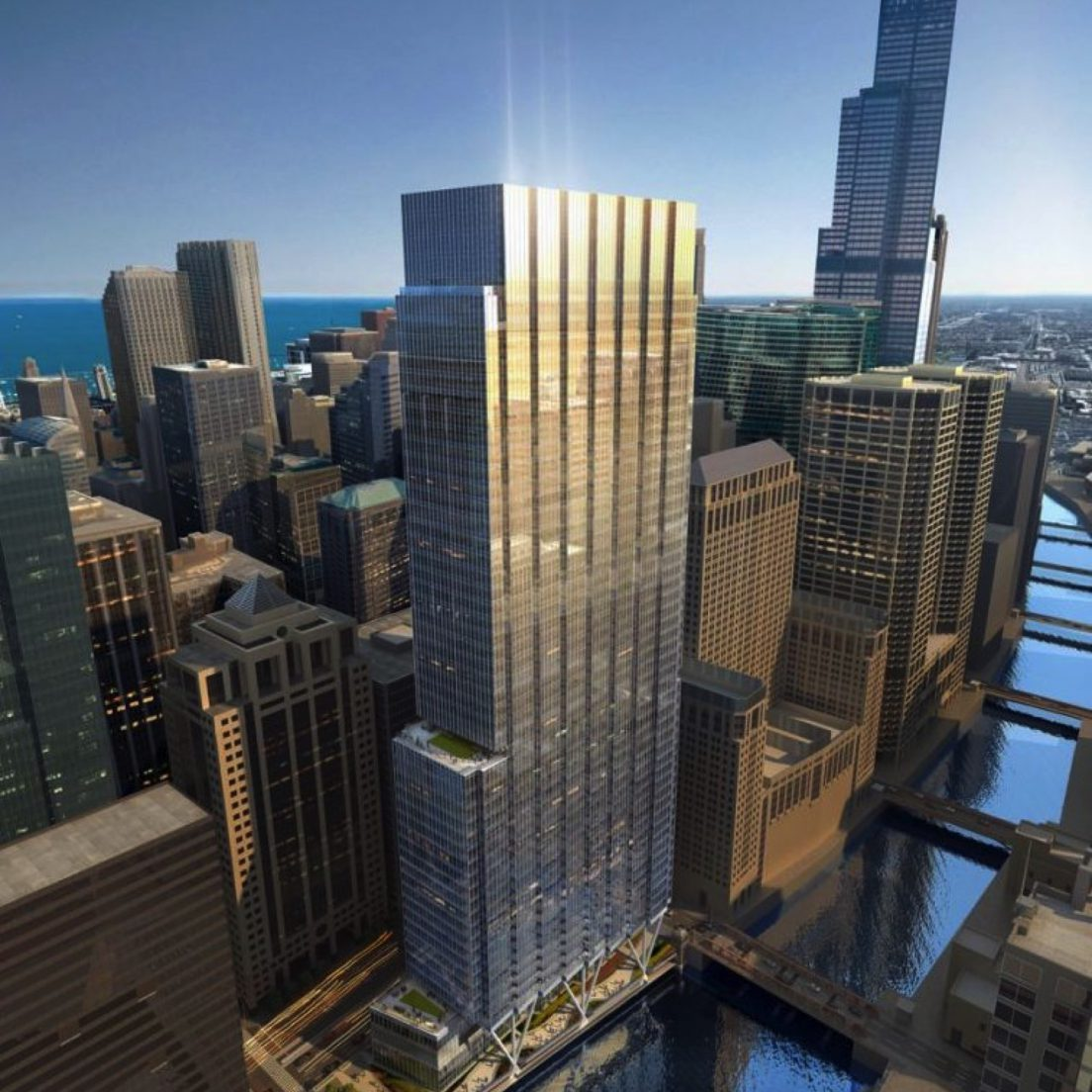 Revised rendering of 110 North Wacker (via Riverside Investments and Development)