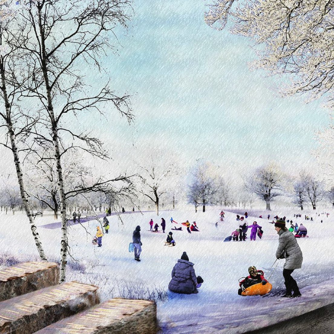 Rendering of the Obama Presidential Center lawn (Courtesy of the Obama Foundation)