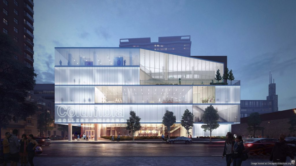 Rendering of the new Columbia College student center (via Gensler)