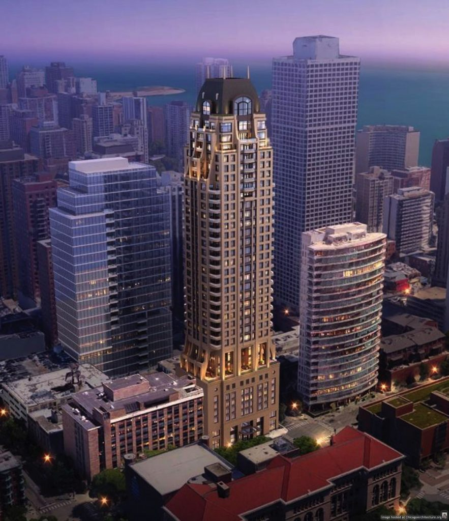 Rendering of a building at Oak and Dearborn that may or may not be Lucien Lagrange's handiwork.