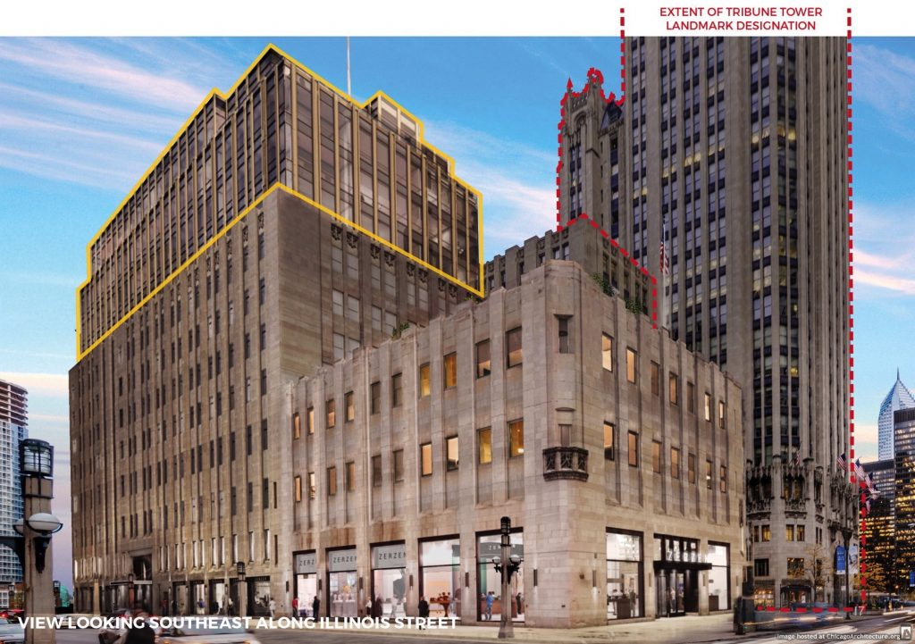 Rendering of the Tribune Tower redevelopment (via CIM Group)