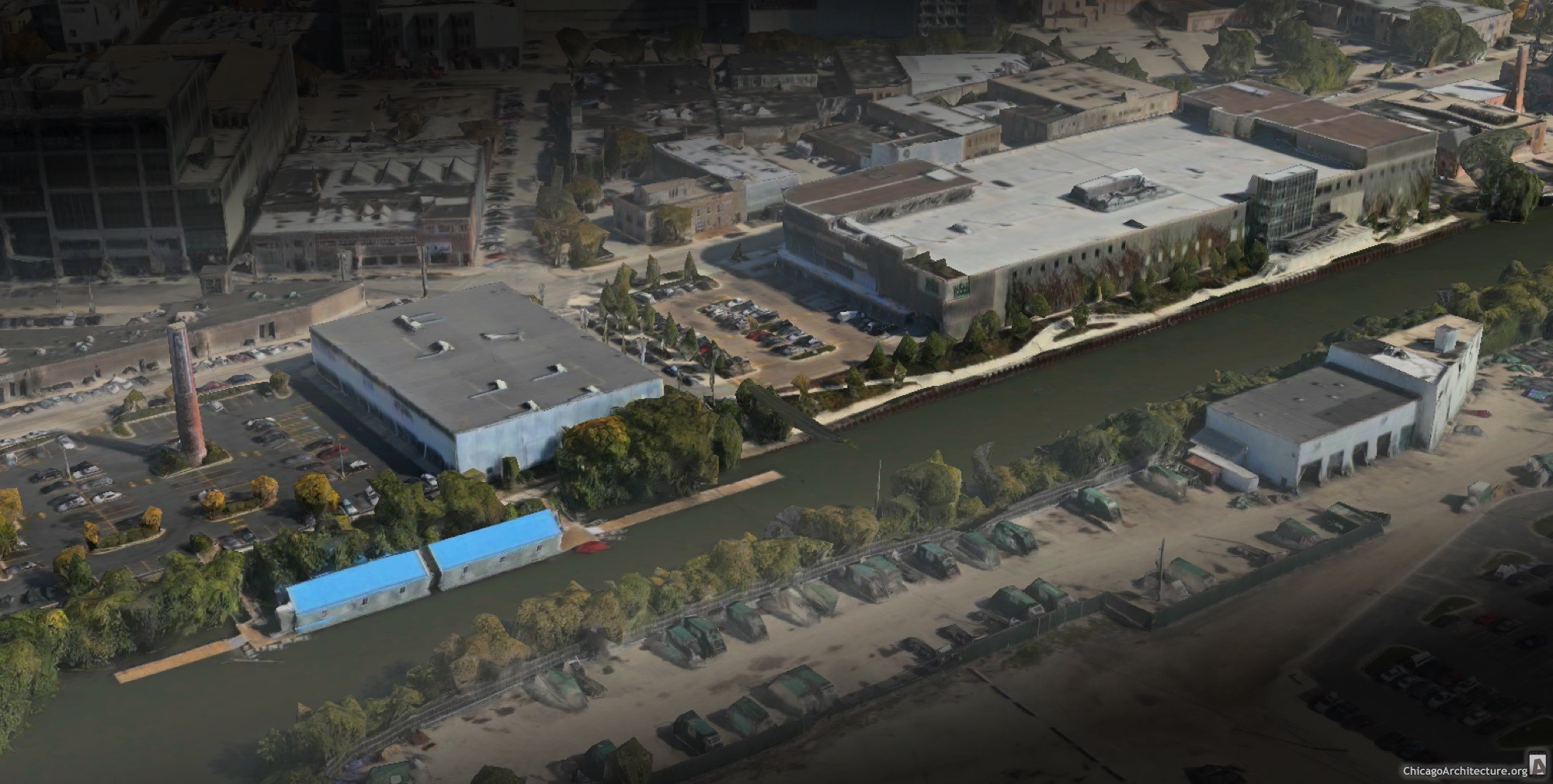 A view of the current secluded riverwalk off Kingsbury Street. (via Apple Maps)