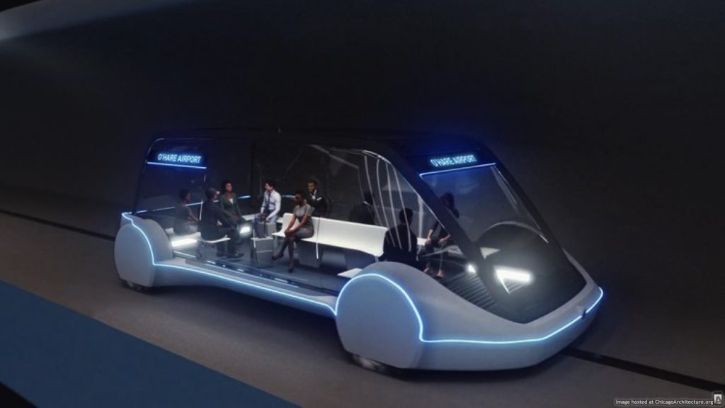 "When the O'Hare announcement was made, 90% of the online coverage used renderings of ""skates"" with ""LAX TERMINAL 2"" signs in the windows. Here's a proper ""O'HARE AIRPORT"" version. (Via The Boring Company)"