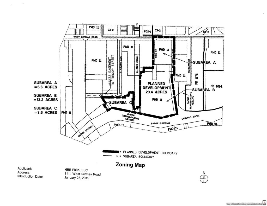 Diagram of the Fisk Power Station redevelopment plan
