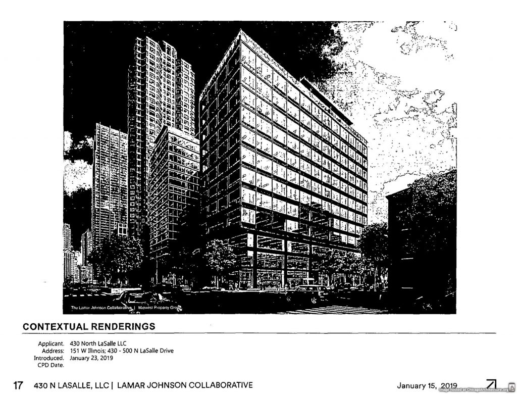 Bad scan of a rendering of 450 North LaSalle