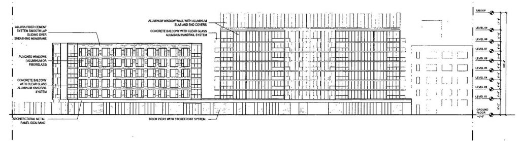 Diagram of 1440 West Randolph from Randolph Street, facing northeast.