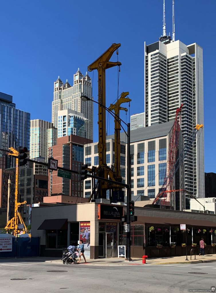 Foundation work at One Chicago, with Bela Luna in the foreground. (August 2019, courtesy of Gold Coast Spy Mike.)