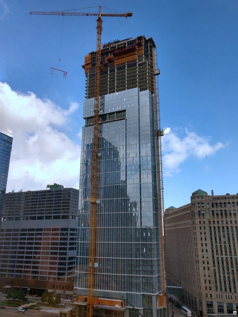Construction of Wolf Point East (August 2019. Courtesy of River North Spy Chris.)