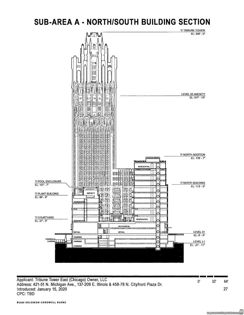 January 2020 diagram of Tribune Tower East