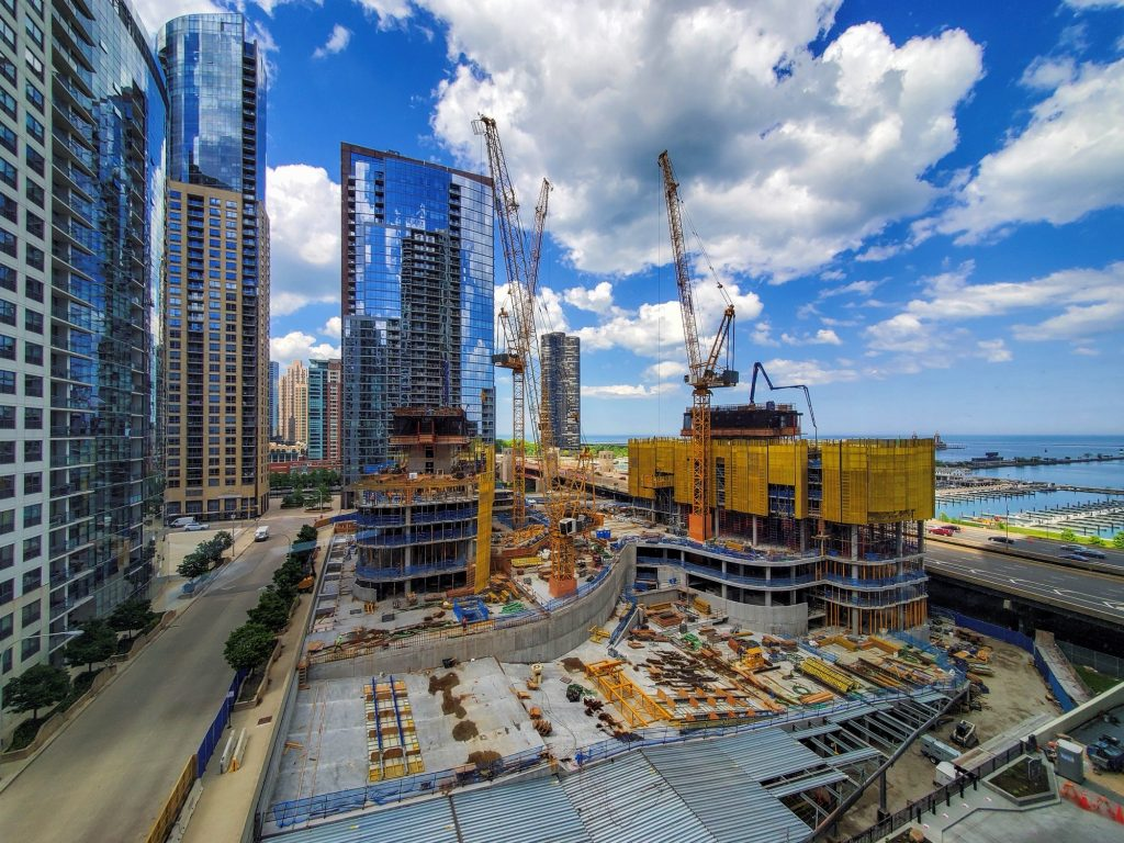 Construction of Cirrus and Cascade in May, 2020 (Courtesy of Joe Zekas/YoChicago!)