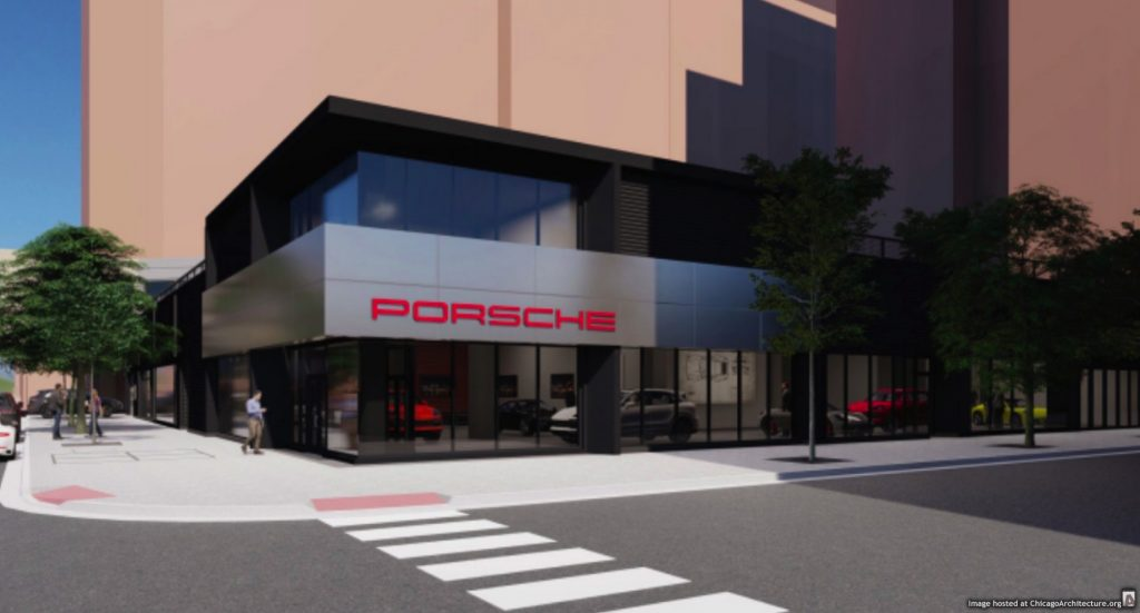 May 2020 rendering of Porsche of Downtown Chicago (via the Office of Alderman Brendan Reilly)