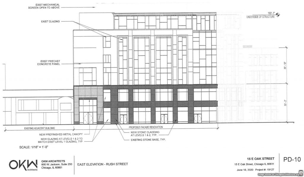 Diagram of the altered 25 East Oak Street.