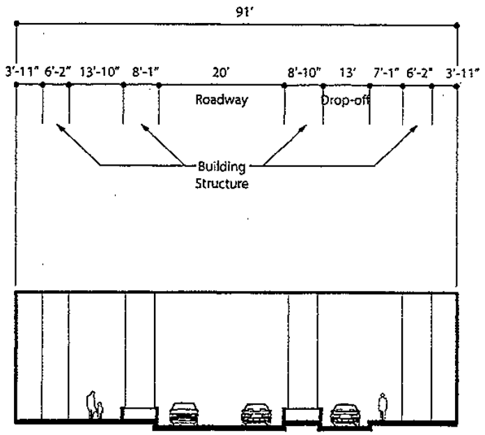 Diagram of Upper North Field Boulevard underneath the Vista Tower