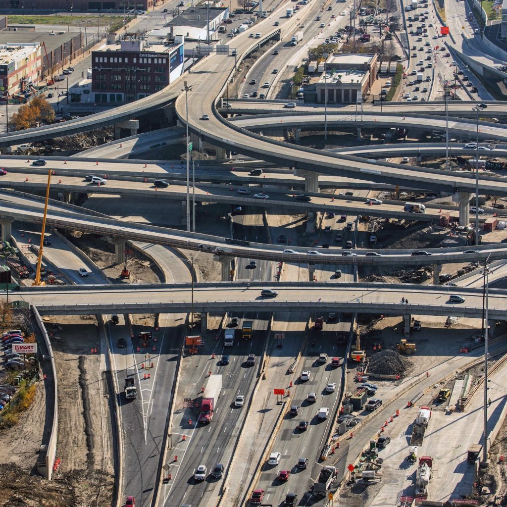 November 2020 construction at the Jane Byrne Interchange (Courtesy of YoChicago!)