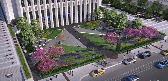 Aon Center's 80's-Themed Plaza Removed