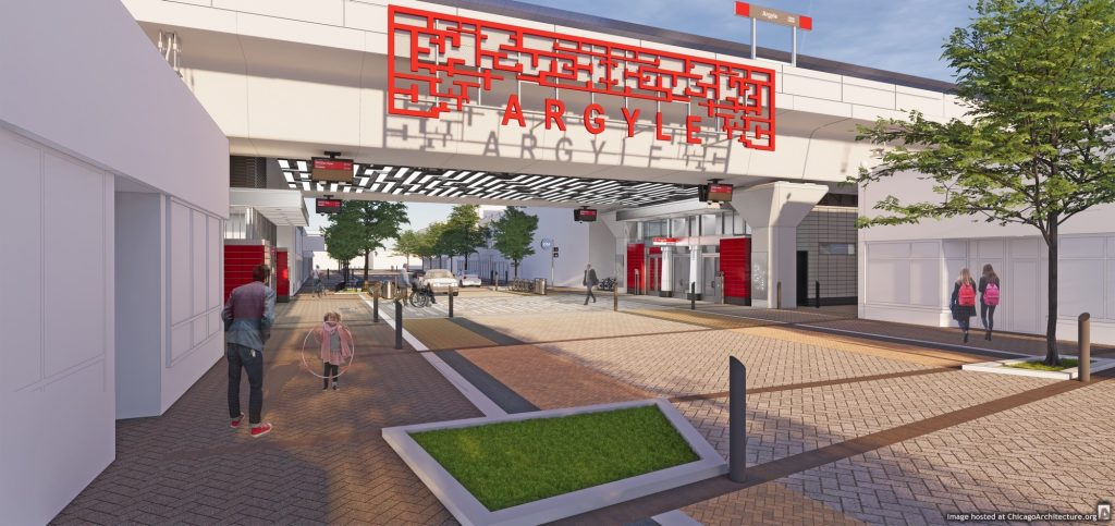 February, 2021 rendering of the CTA Argyle station. (Courtesy of the City of Chicago)